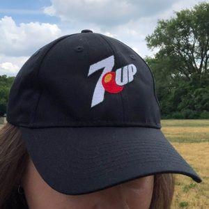 Black 7-up Soda Logo Embroidered Baseball Cap